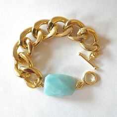 Chunky Gold Chain Link Bracelet With Faceted Mint Green Amazonite. $35.00, via Etsy.