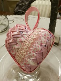 Girl's nursery decor, newborn girl present, quilted heart ornament, Valentine's gift, 11cm