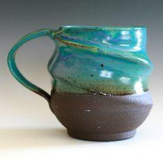 Extra Large Twisted Coffee Mug 27 oz handmade ceramic by ocpottery