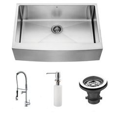 VIGO�16-Gauge Single-Basin Apron Front Stainless Steel Kitchen Sink with Faucet