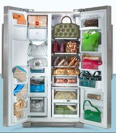 We believe in the Carrie Bradshaw method of home organization. Shoes in the oven purses in the fridge. Fabric Handbags, Fabric Purses, Handbag Display, Handbag Storage, Unique Handbags, Best Purses, Closet Storage, Home Organization, Organizing