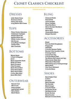 closet classics checklist...I like this!! Gives you a lot of good staples that will never be out of style!