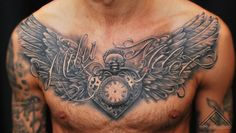 Clock With Wings Backpiece Tattoos Sketch