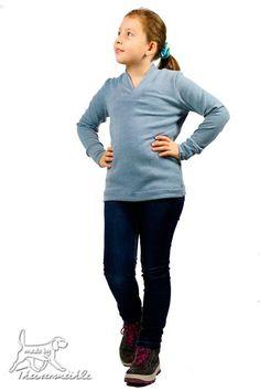 Schnittmuster / Ebook lillesol basics No.51 Shirt mit V-Ausschnitt/Nähen Pulli mit V-Ausschnitt/ pdf sewing pattern Shirt with V-Neck