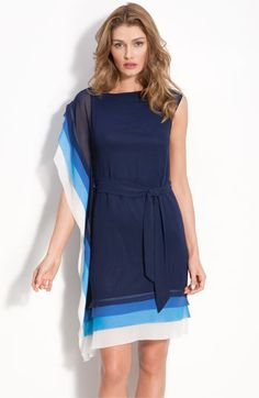 Asymmetric Layered Tier Dress with Sash Tie