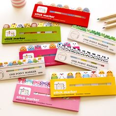 1X Cute Kawaii Fresh Cartoon Bookmark Memo Pad Sticky Note Paper Stickers Sticker Marker Korean Stationery School Supplies