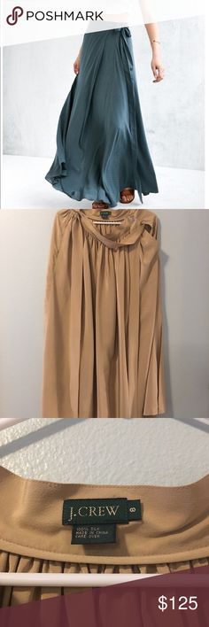 Tan Silk Skirt Wrap style. 100% Silk. Absolutely beautiful piece. Pics don't do it justice. The first pick is the same Skirt in a different color/material. Any item in my closet, half off with purchase of this skirt. (Not to exceed $50 off) J. Crew Skirts Maxi