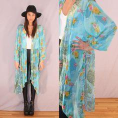 Vtg 90s Turquoise Blue Beaded Hippie Boho Sheer Duster Kimono Jacket s M L | eBay