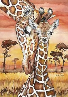Giraffe Mother and Baby Cross Stitch Pattern. I made this years ago put in oval frame