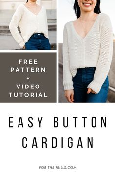 This free crochet cardigan pattern is a lot easier to crochet than it seems. The main body is worked in one piece, so you only have to seam the shoulders! Using basic beginner stitches (single crochet, single crochet 2 stitches together and half double crochet) this modern button up cardigan is the perfect crochet project for any season! This fall sweater DIY also has a step-by-step video tutorial #freecrochetpattern #crochetcardigan #crochetbutton #crochetsweaterpattern Crochet Buttons, Cute Crochet, Shawl Patterns, Easy Crochet Patterns, Linen Stitch, Crochet Cardigan Pattern, Modern Crochet, Crochet Videos, Single Crochet