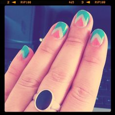 Chevron Nails: Turquoise, Mint and Coral