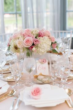 Pretty In Pink Romantic Garden-Inspired Fall Wedding With the help of fabulous vendors, this bride and groom's vision for a wedding full of delicate details and soft floral touches came to life in beautiful shades of blush and pink. Wedding Reception Decorations, Wedding Themes, Wedding Table, Fall Wedding, Diy Wedding, Dream Wedding, Garden Wedding, Reception Ideas, Floral Centerpieces