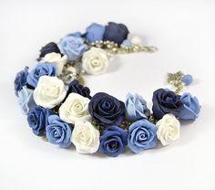 Blue rose cha cha charm Bracelet - Polymer clay jewelry - Great gift -  Rose bracelet - handmade floral bracelet -White Blue