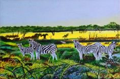 Title:Etosha National Park; Artist Name:OLIVER MACHADO; Description:Zebras in Etosha National Park, Namibia...; Art Form:Paintings; Style:Realism; Media:Acrylic; Genre:Animals,Landscape,Nature,Wildlife