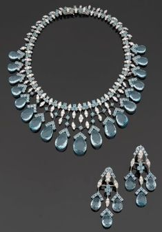 Blue Topaz and Diamond Set