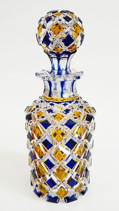 Antique c1840-60 Bohemian Cobalt Blue & Amber Overlay CUT CRYSTAL * NO RESERVE #Biedermayer
