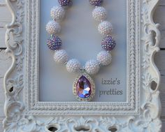 Purple and White Sofia the First Chunky Necklace by IzziesPretties