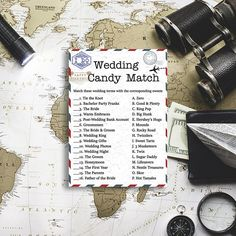 Wedding Candy Bar Matching Game Travel themed bridal shower