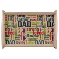 Dad Word Cloud Text Father's Day Typography Serving Trays