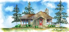 Plan Mountain, Narrow Lot, Cottage, Vacation House Plans & Home Designs Cottage House Plans, Cottage Living, Small House Plans, Cottage Homes, House Floor Plans, Craftsman Cottage, Backyard Cottage, Cabin Homes, Tiny Living