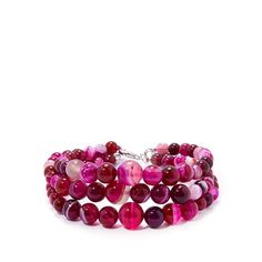 Fuchsia Banded Agate Bracelet in Sterling Silver 150cts