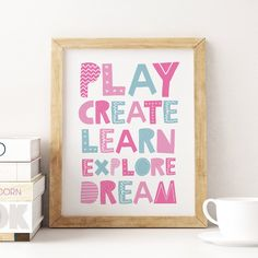 Kids Playroom Printable Art, Play Create Learn Explore, Children Wall Art, Kids Print, Playroom Decor, Toy Room Play Sign *Instant Download* Playroom Decor, Nursery Wall Decor, Art Wall Kids, Art For Kids, Art Children, Printing Websites, Online Printing, Kids Prints, Wall Prints
