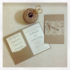 Rustic Lace Wedding Invitation sample by StunningStationery