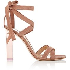 Gianvito Rossi Women's Suede Ankle-Tie Sandals ($1,075) ❤ liked on Polyvore featuring shoes, sandals, heels, gianvito rossi, pink, square heel sandals, ankle strap high heel sandals, wrap sandals, high heel sandals and high heeled footwear
