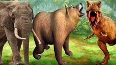 Bear Elephant Vs Dinosaur Fight Gorilla Lion Tiger T-Rex Pig Song 3D Din...
