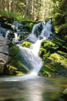 'Waterfall' by Marcel Ilie Marcel, Pretty Pictures, Serenity, Explore, Green, Outdoor, Waterfalls, Landscapes, Natural