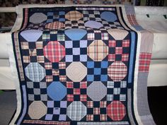 Kay made this quilt from men's shirts. She used the shirt button plackets for borders around the outside of the quilt. Kay also made use of shirts by Man Quilt, Boy Quilts, Scrappy Quilts, Shirt Quilts, Snowball Quilts, Recycled Shirts, Plaid Quilt, Flannel Quilts, Nine Patch Quilt