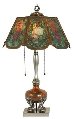 Pairpoint Reverse Painted 8 Panel Table Lamp