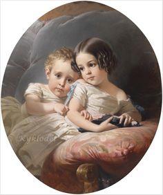 Edouard Louis Dubufe (France, 1820–1883) «Portrait of Two Children»