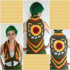 Sunflower Crochet Vest to color your day <3