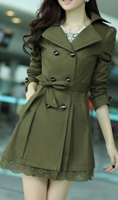 Tieing the belt into the bow adds a girly effect to the coat. And brings attention to your mid-section.