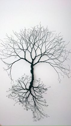 Baum aus Draht gespiegelt / Wire wall Art tree of life wall decoration. by WireArtbyCatherine