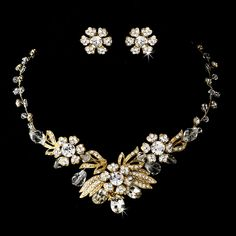 Gold Plated Vintage Inspired Wedding Jewelry Set