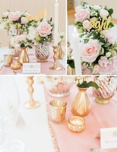 How To Style A Pink And Gold Wedding Table -decor available from @theweddingomd