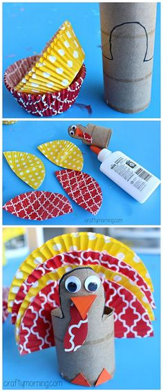 Cupcake Liner Turkey using Toilet Paper Rolls - #Thanksgiving craft for kids | CraftyMorning.com