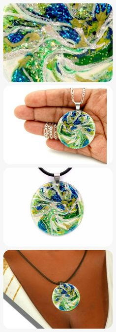 Pendant necklace Art, wearable art ocean, etsy jewelry awesome.