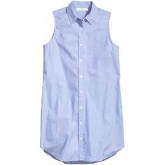 H&M Sleeveless shirt dress ($23) ❤ liked on Polyvore featuring dresses, light blue, blue cotton dress, h&m dresses, sleeveless dress, light blue short dress and cotton dress