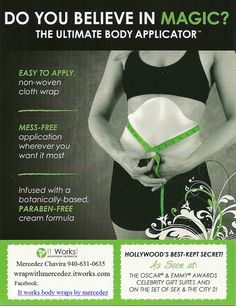 See results in 45 minutes   tightening, toning, and firming the skin. that's the job of the Ultimate Applicator™ from It Works Global.     https://virginie.myitworks.com