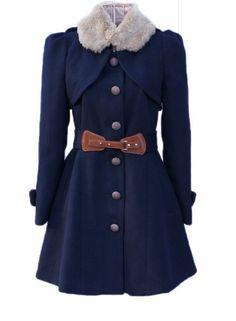 Dark blue Outerwear breasted overcoat woollen by prettyforest22