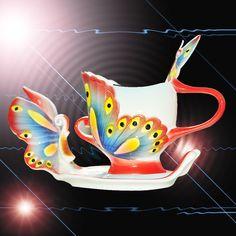 Fine Art Porcelain Ceramic Butterfly Coffee Mug Tea Set Cup Sauce Spoon+Gift Box