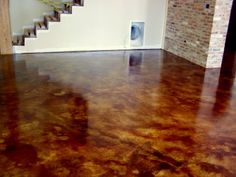 Custom Finished Concrete Basement Floor   Maybe Pull Up The Carpet In The  Office Room And