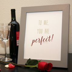 To Me You Are Perfect // Valentine's Print by KateOGroup on Etsy // Love Actually Quote #MovieQuote