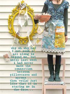 pictures of dottie angel granny chic Sewing Crafts, Sewing Projects, Diy Projects, Dottie Angel, Sewing Aprons, Granny Chic, Vintage Sheets, Dressmaking, Creative Inspiration