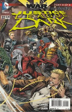 Trinity War Chapter Three : House Of Cards _ Ray Fawkes Writer ,Mikel Janin Artist And Ivan Reis , Joe Prado & Rod Reis Cover Art ,The most shocking story of the year continues as Justice League Dark must battle both the Justice League and the Justice League of America in the wake of a murder you never thought possible! It's an extra-sized issue you won't want to miss!