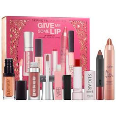 New at #Sephora: Sephora Favorites Give Me Some Lip Sampler Set. A set of six lip favorites in perfect pinks and natural nudes. #makeup #valuesets #lips