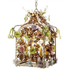 Hand-beaded flowers burst out in bouquets of color with hummingbirds, vines and oak leaves. Customization available. Birdcage Chandelier, Flower Chandelier, Ceiling Fixtures, Ceiling Lamp, Ceiling Lights, Light Fixtures, Storybook Cottage, Canopy Design, Unique Lighting